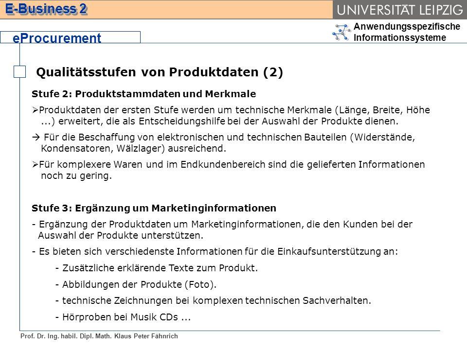 Anwendungsspezifische Informationssysteme Prof. Dr. Ing. habil. Dipl. Math. Klaus Peter Fähnrich E-Business 2 Qualitätsstufen von Produktdaten (2) ePr