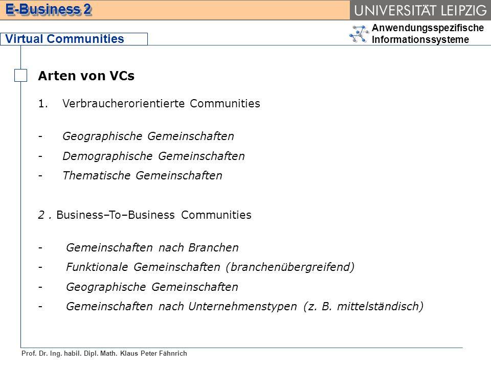 Anwendungsspezifische Informationssysteme Prof. Dr. Ing. habil. Dipl. Math. Klaus Peter Fähnrich E-Business 2 Virtual Communities Arten von VCs 1.Verb