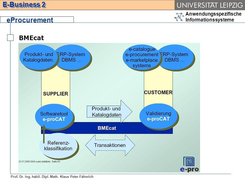 Anwendungsspezifische Informationssysteme Prof. Dr. Ing. habil. Dipl. Math. Klaus Peter Fähnrich E-Business 2 BMEcat eProcurement