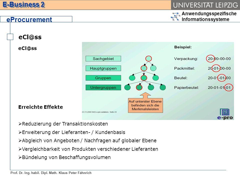 Anwendungsspezifische Informationssysteme Prof. Dr. Ing. habil. Dipl. Math. Klaus Peter Fähnrich E-Business 2 eCl@ss eProcurement eCl@ss Erreichte Eff