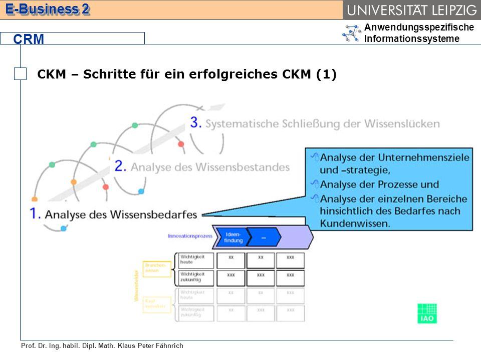 Anwendungsspezifische Informationssysteme Prof. Dr. Ing. habil. Dipl. Math. Klaus Peter Fähnrich E-Business 2 CRM CKM – Schritte für ein erfolgreiches