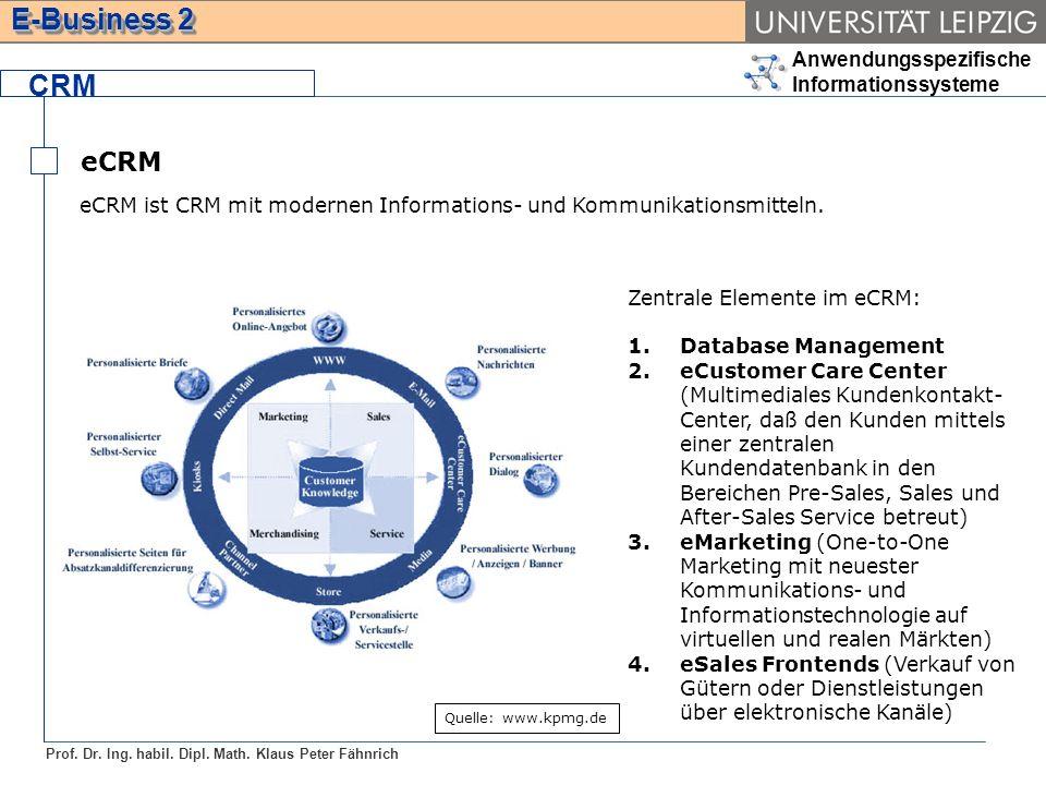 Anwendungsspezifische Informationssysteme Prof. Dr. Ing. habil. Dipl. Math. Klaus Peter Fähnrich E-Business 2 CRM eCRM eCRM ist CRM mit modernen Infor