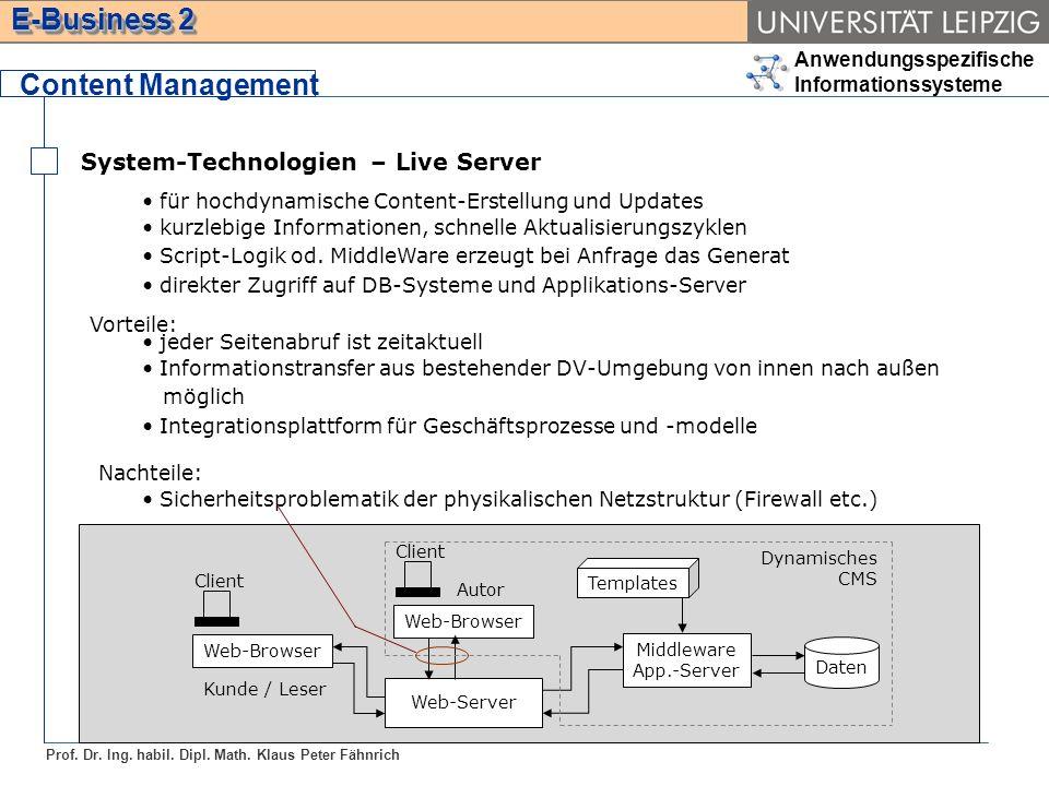 Anwendungsspezifische Informationssysteme Prof. Dr. Ing. habil. Dipl. Math. Klaus Peter Fähnrich E-Business 2 System-Technologien – Live Server Conten