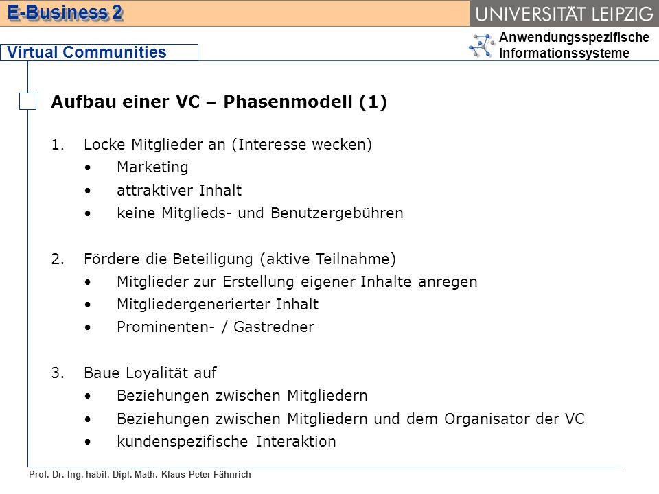 Anwendungsspezifische Informationssysteme Prof. Dr. Ing. habil. Dipl. Math. Klaus Peter Fähnrich E-Business 2 Virtual Communities Aufbau einer VC – Ph