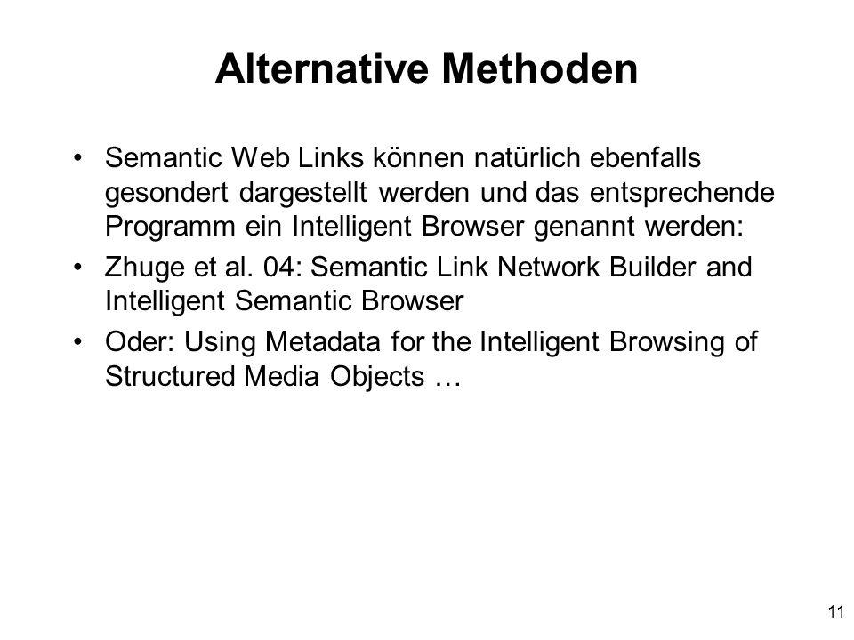 11 Alternative Methoden Semantic Web Links können natürlich ebenfalls gesondert dargestellt werden und das entsprechende Programm ein Intelligent Browser genannt werden: Zhuge et al.