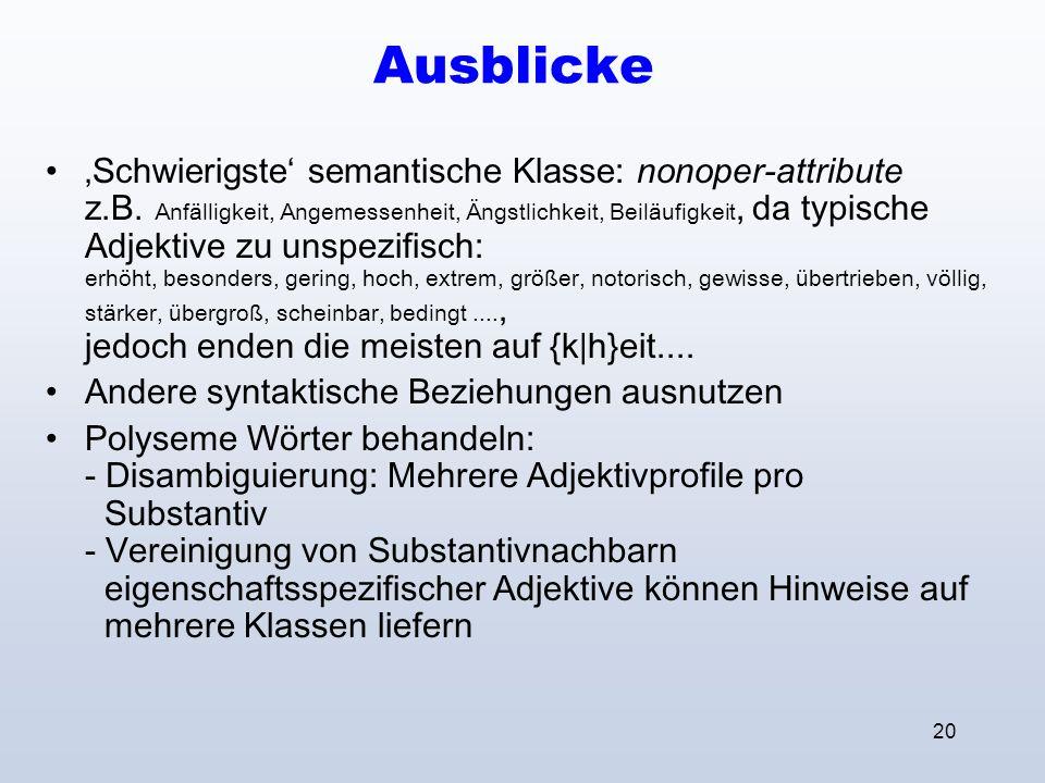 20 Ausblicke Schwierigste semantische Klasse: nonoper-attribute z.B.