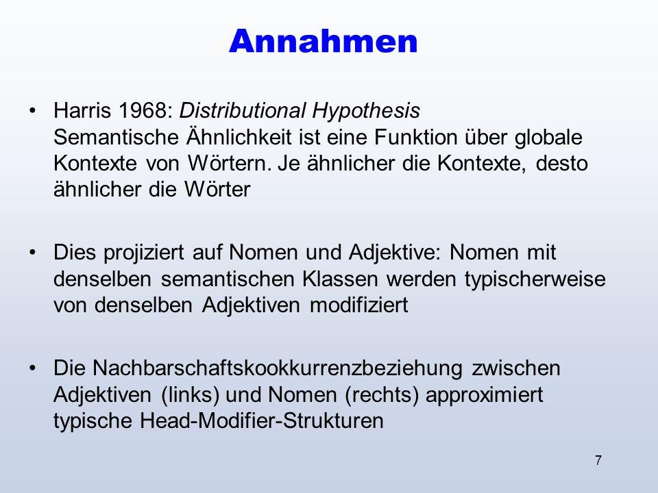 7 Annahmen Harris 1968: Distributional Hypothesis Semantische Ähnlichkeit ist eine Funktion über globale Kontexte von Wörtern.