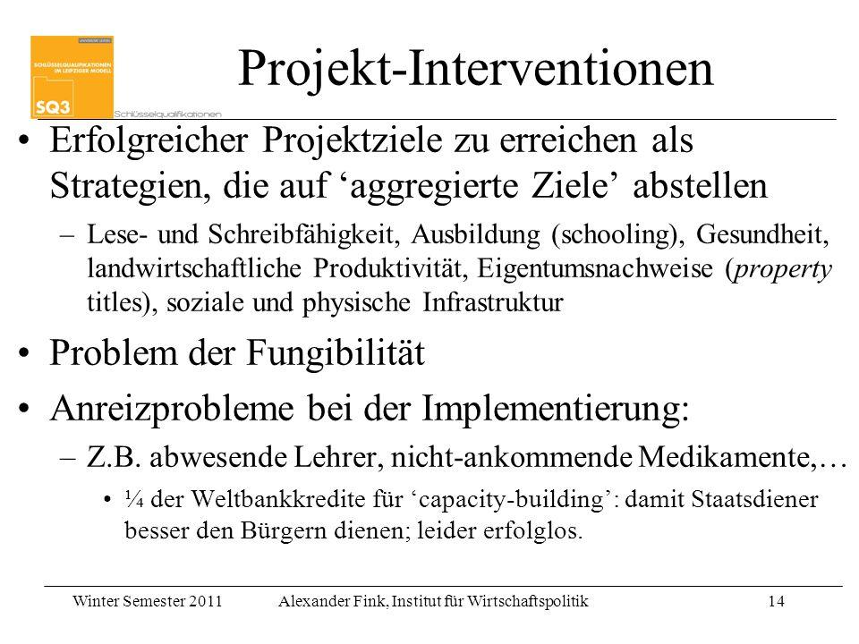 Winter Semester 2011Alexander Fink, Institut für Wirtschaftspolitik14 Projekt-Interventionen Erfolgreicher Projektziele zu erreichen als Strategien, d