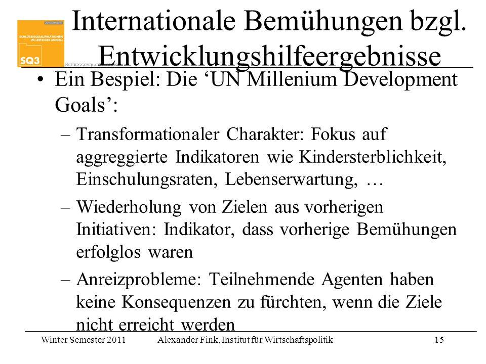 Winter Semester 2011Alexander Fink, Institut für Wirtschaftspolitik15 Internationale Bemühungen bzgl. Entwicklungshilfeergebnisse Ein Bespiel: Die UN