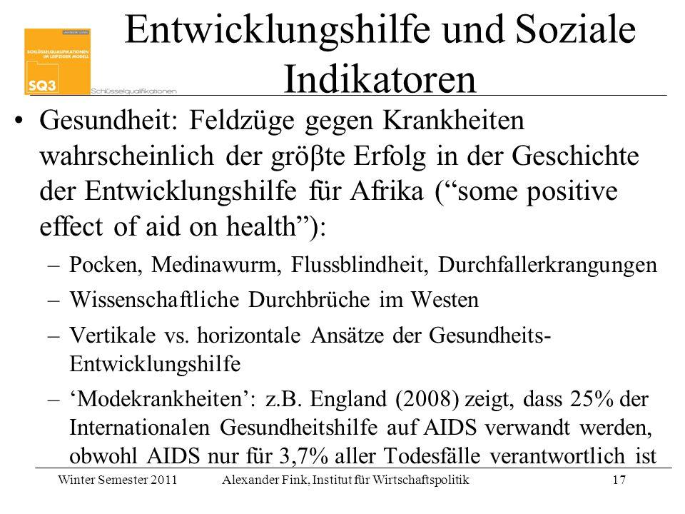 Winter Semester 2011Alexander Fink, Institut für Wirtschaftspolitik17 Entwicklungshilfe und Soziale Indikatoren Gesundheit: Feldzüge gegen Krankheiten
