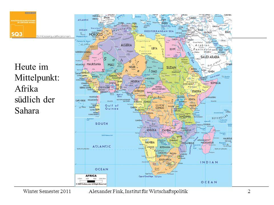 Winter Semester 2011Alexander Fink, Institut für Wirtschaftspolitik13 Empirische Evidenz zu Wachstum Easterly (2006) findet keinen Nachweis, das arme Länder langsamer wachsen –Diese Evidenz steht in Widerspruch mit der Armutsfallentheorie der Armut Empirische Ergebnisse lassen den Schluss zu, dass Entwicklungshilfe keinen positiven Einfluss auf Wachstum (oder Investment) hatte –Stimmt mit der Boebachtung überein, dass Akrika der entwicklungshilfeintensivste Kontinent ist und Afrikas Wachstum trotzdem niedrig war