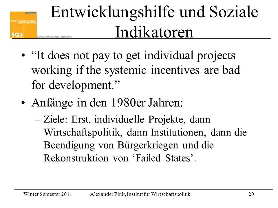 Winter Semester 2011Alexander Fink, Institut für Wirtschaftspolitik20 Entwicklungshilfe und Soziale Indikatoren It does not pay to get individual proj