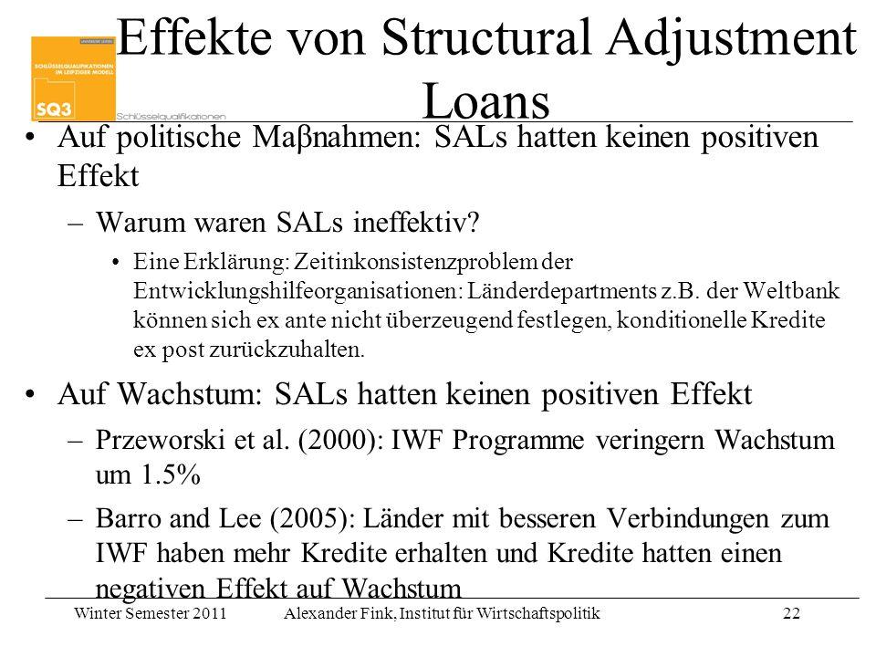 Winter Semester 2011Alexander Fink, Institut für Wirtschaftspolitik22 Effekte von Structural Adjustment Loans Auf politische Maβnahmen: SALs hatten ke