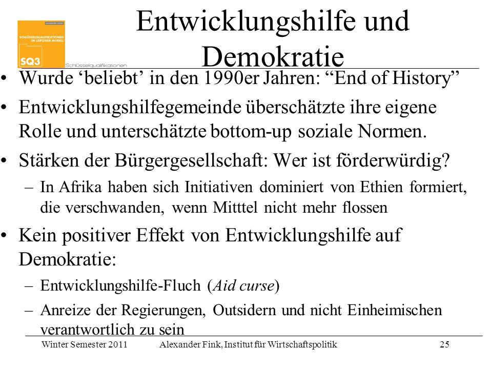 Winter Semester 2011Alexander Fink, Institut für Wirtschaftspolitik25 Entwicklungshilfe und Demokratie Wurde beliebt in den 1990er Jahren: End of Hist