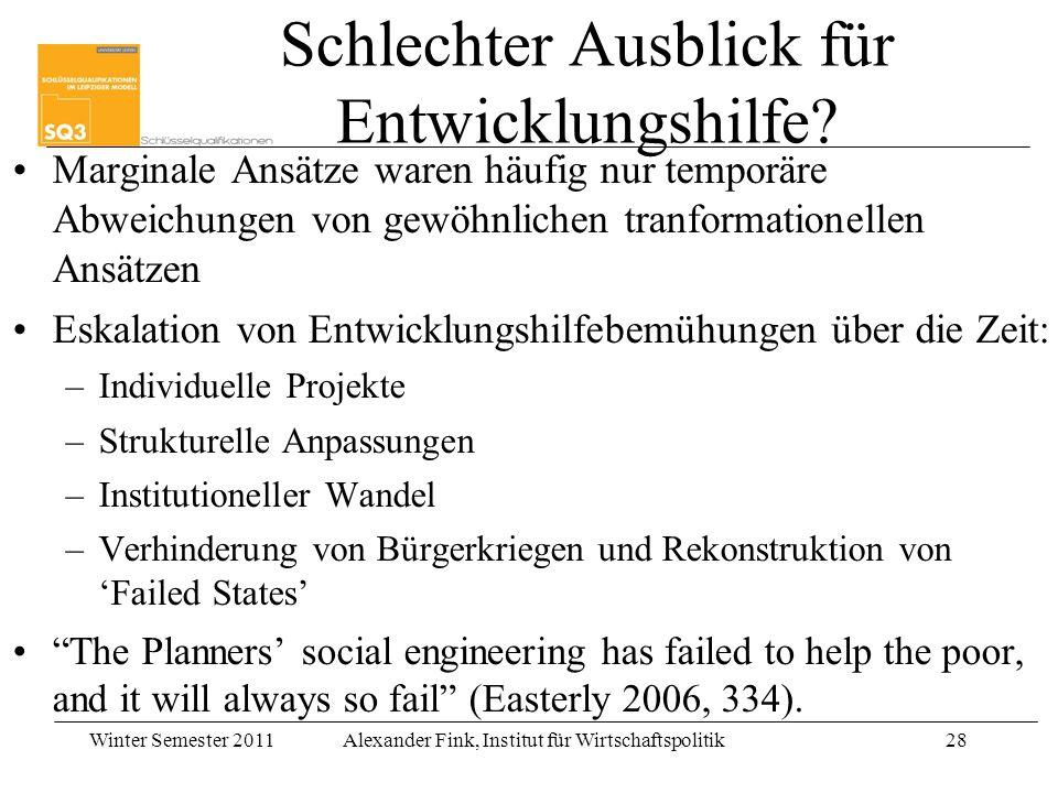 Winter Semester 2011Alexander Fink, Institut für Wirtschaftspolitik28 Schlechter Ausblick für Entwicklungshilfe? Marginale Ansätze waren häufig nur te
