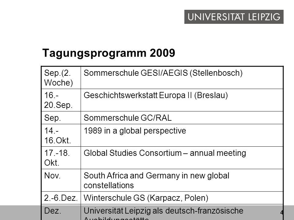 4 Tagungsprogramm 2009 Sep.(2. Woche) Sommerschule GESI/AEGIS (Stellenbosch) 16.- 20.Sep. Geschichtswerkstatt Europa II (Breslau) Sep.Sommerschule GC/