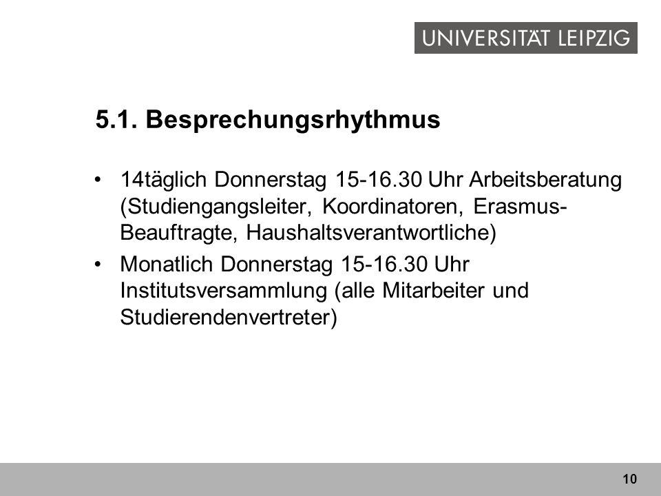 10 5.1. Besprechungsrhythmus 14täglich Donnerstag 15-16.30 Uhr Arbeitsberatung (Studiengangsleiter, Koordinatoren, Erasmus- Beauftragte, Haushaltsvera