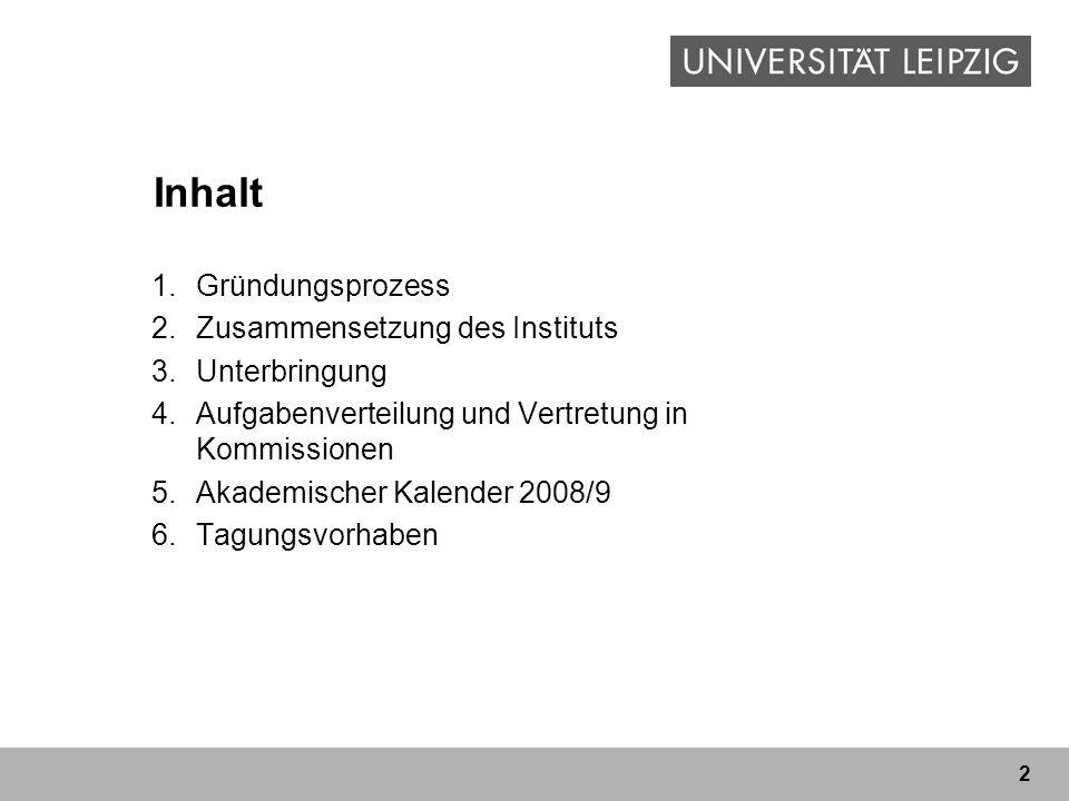 2 Inhalt 1.Gründungsprozess 2.Zusammensetzung des Instituts 3.Unterbringung 4.Aufgabenverteilung und Vertretung in Kommissionen 5.Akademischer Kalende