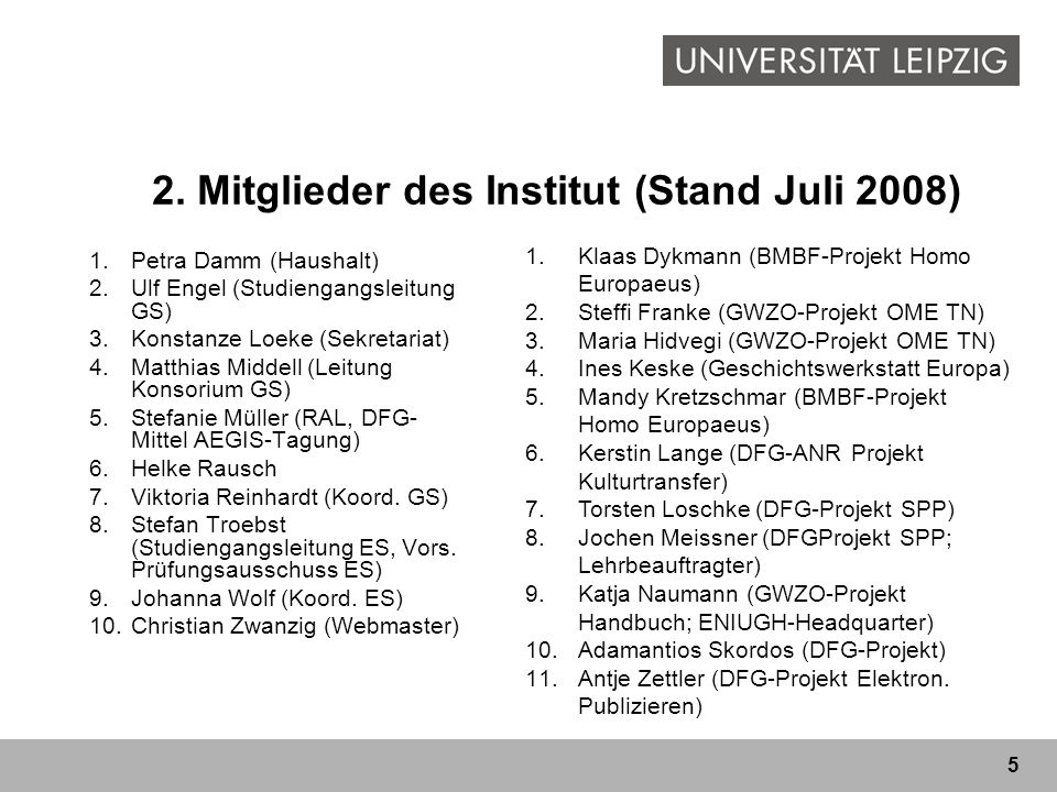 5 2. Mitglieder des Institut (Stand Juli 2008) 1.Petra Damm (Haushalt) 2.Ulf Engel (Studiengangsleitung GS) 3.Konstanze Loeke (Sekretariat) 4.Matthias