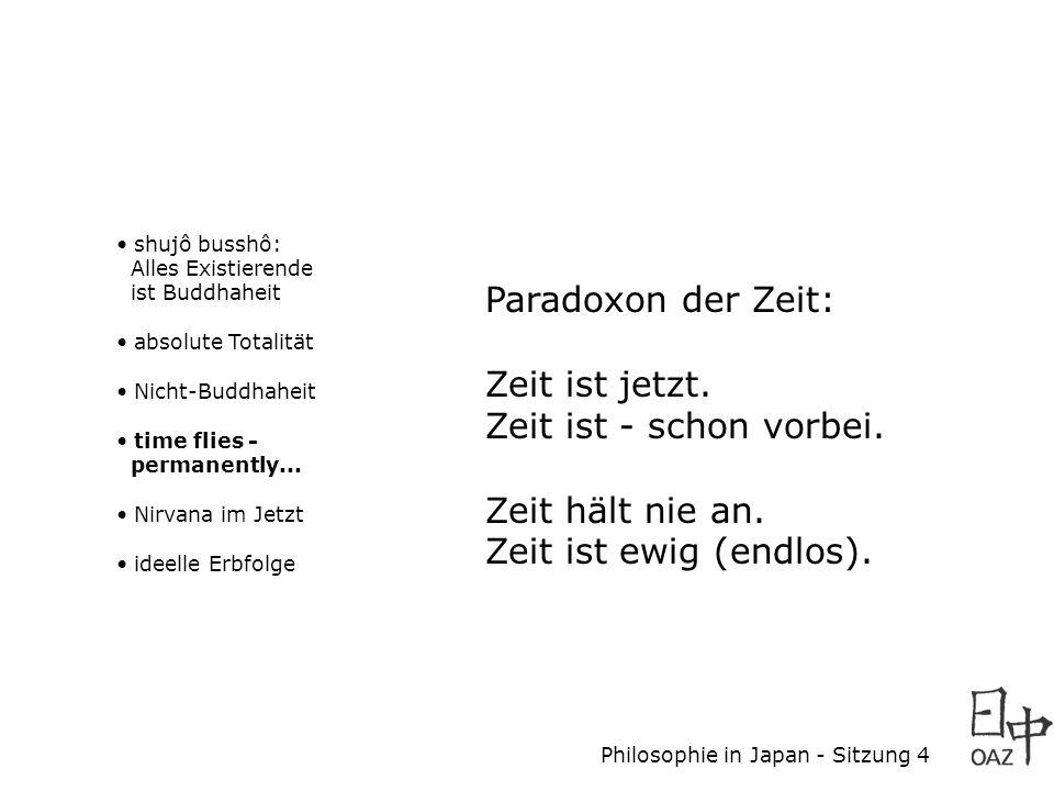 Philosophie in Japan - Sitzung 4 shujô busshô: Alles Existierende ist Buddhaheit absolute Totalität Nicht-Buddhaheit time flies - permanently... Nirva