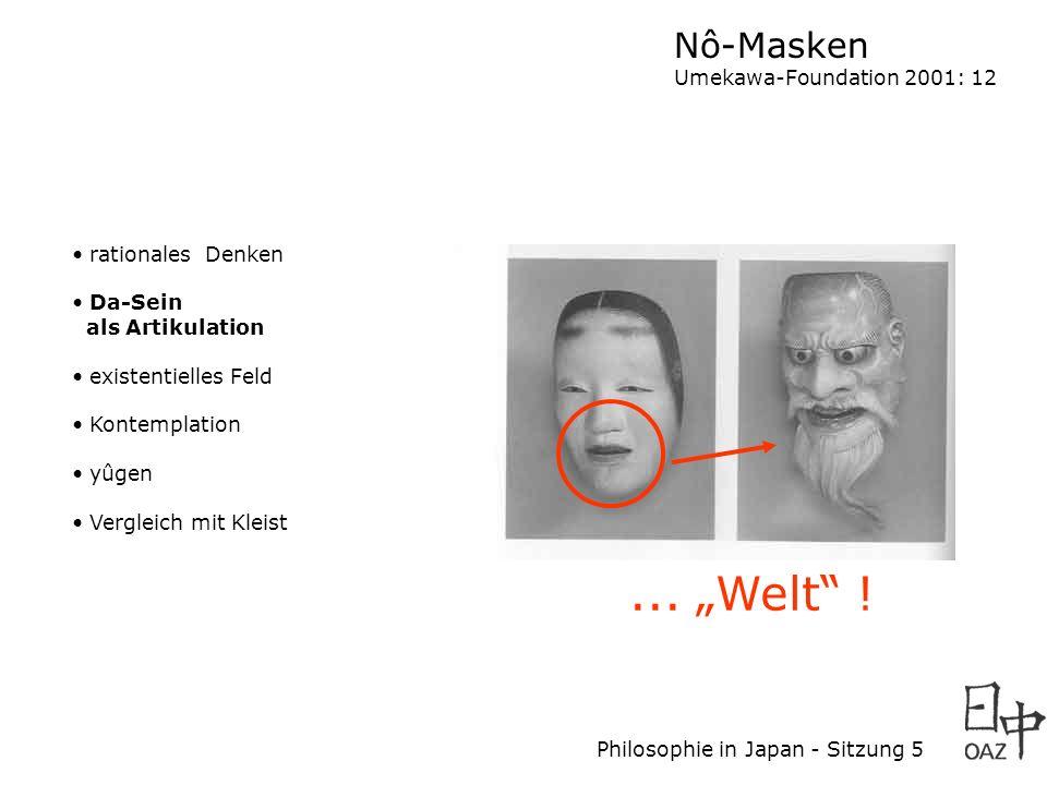 Philosophie in Japan - Sitzung 5 rationales Denken Da-Sein als Artikulation existentielles Feld Kontemplation yûgen Vergleich mit Kleist Nô-Masken Ume