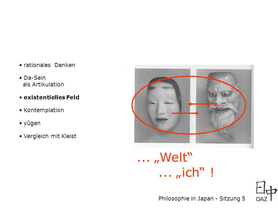 Philosophie in Japan - Sitzung 5 rationales Denken Da-Sein als Artikulation existentielles Feld Kontemplation yûgen Vergleich mit Kleist... Welt... ic