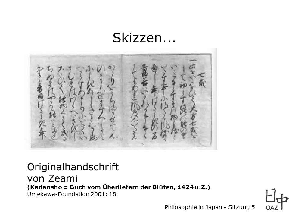 Philosophie in Japan - Sitzung 5 Originalhandschrift von Zeami (Kadensho = Buch vom Überliefern der Blüten, 1424 u.Z.) Umekawa-Foundation 2001: 18 Ski