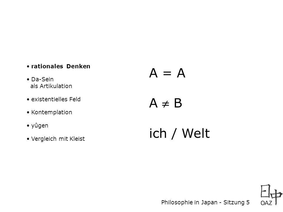 Philosophie in Japan - Sitzung 5 rationales Denken Da-Sein als Artikulation existentielles Feld Kontemplation yûgen Vergleich mit Kleist A = A A B ich