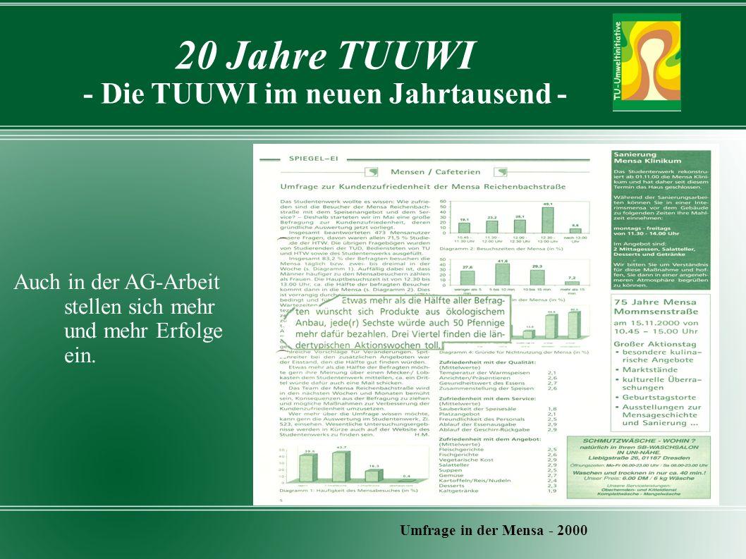20 Jahre TUUWI - Die TUUWI im neuen Jahrtausend - Umfrage in der Mensa - 2000 Auch in der AG-Arbeit stellen sich mehr und mehr Erfolge ein.