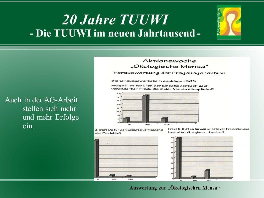 20 Jahre TUUWI - Die TUUWI im neuen Jahrtausend - Auswertung zur Ökologischen Mensa Auch in der AG-Arbeit stellen sich mehr und mehr Erfolge ein.