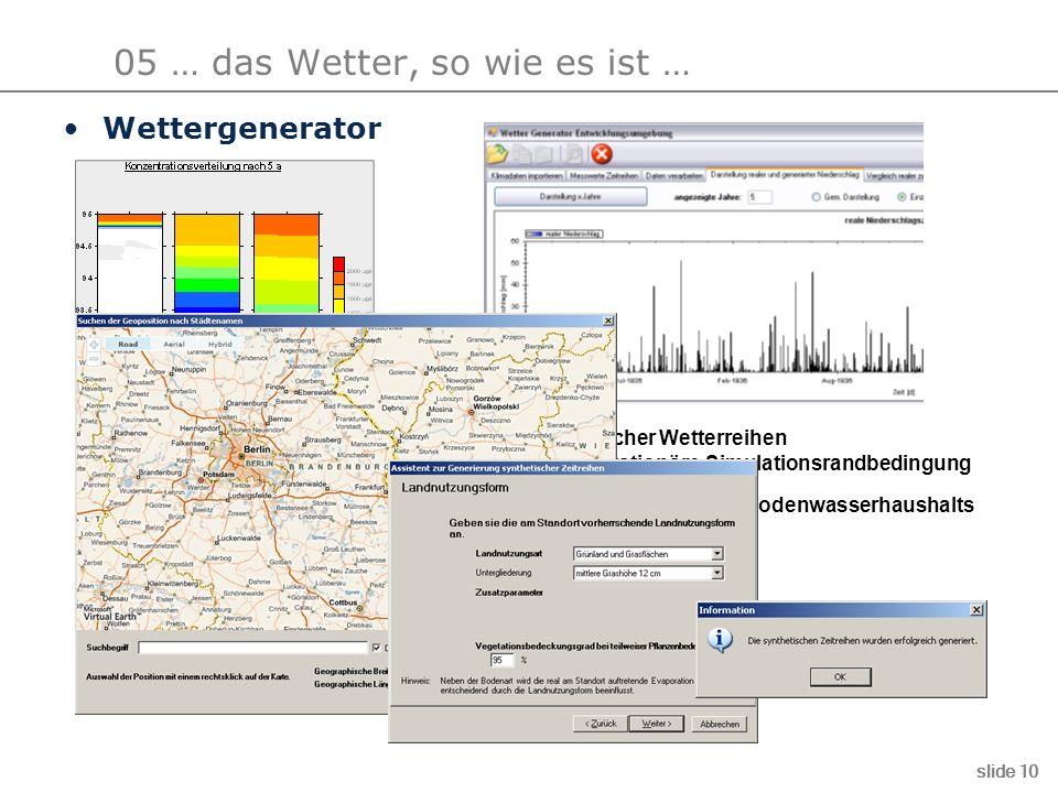 05 … das Wetter, so wie es ist … slide 10 Erzeugung synthetischer Wetterreihen aus Realdaten als instationäre Simulationsrandbedingung besser Nachbild