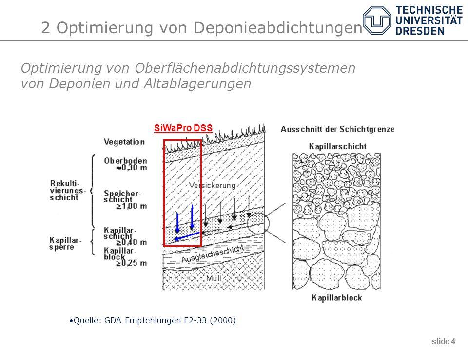 2 Optimierung von Deponieabdichtungen Optimierung von Oberflächenabdichtungssystemen von Deponien und Altablagerungen Quelle: GDA Empfehlungen E2-33 (