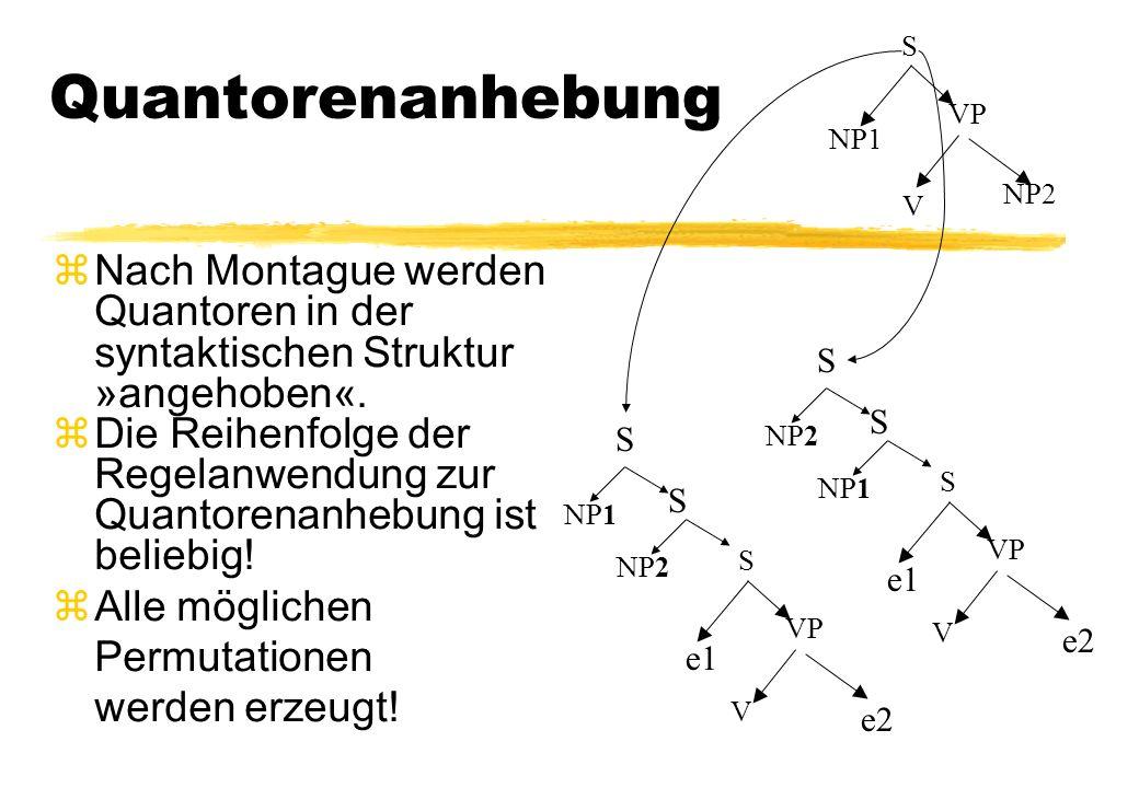 Quantorenanhebung zNach Montague werden Quantoren in der syntaktischen Struktur »angehoben«. zDie Reihenfolge der Regelanwendung zur Quantorenanhebung