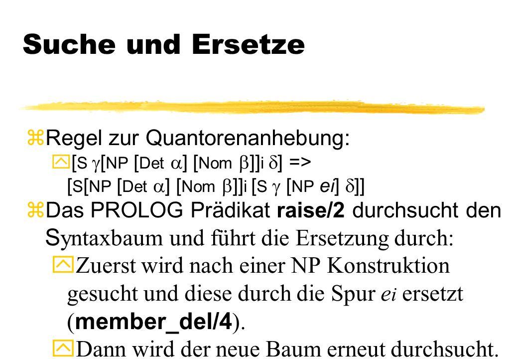 Suche und Ersetze zRegel zur Quantorenanhebung: [ S [ NP [ Det ] [ Nom ]] i ] => [ S [ NP [ Det ] [ Nom ]] i [ S [ NP e i ] ]] Das PROLOG Prädikat rai