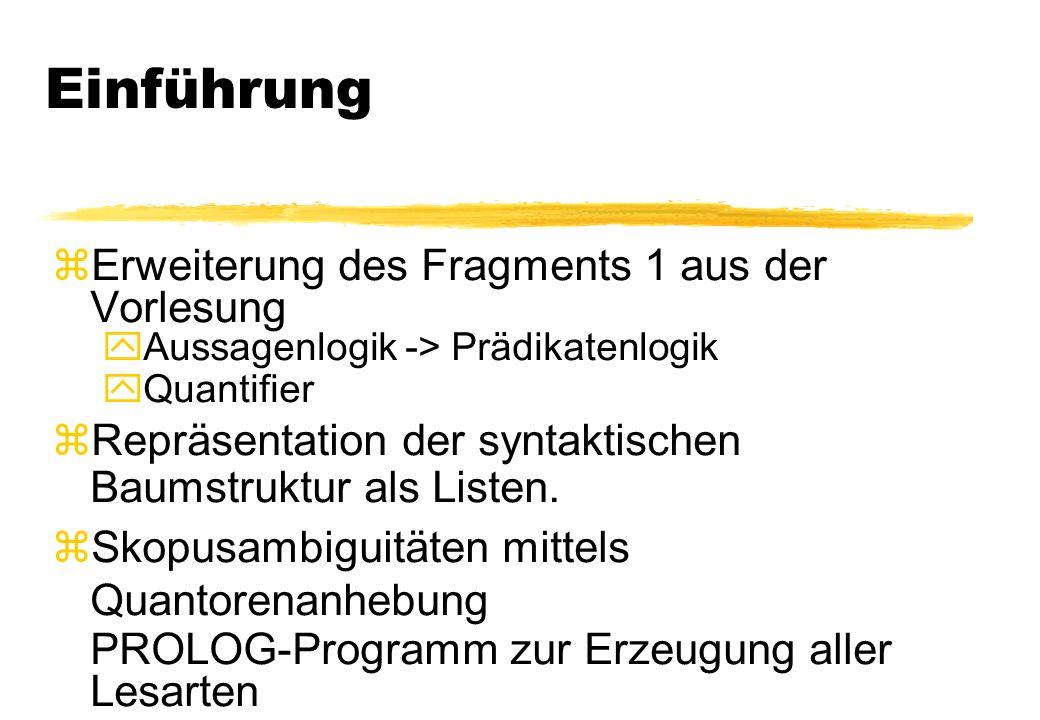 Einführung zErweiterung des Fragments 1 aus der Vorlesung yAussagenlogik -> Prädikatenlogik yQuantifier zRepräsentation der syntaktischen Baumstruktur