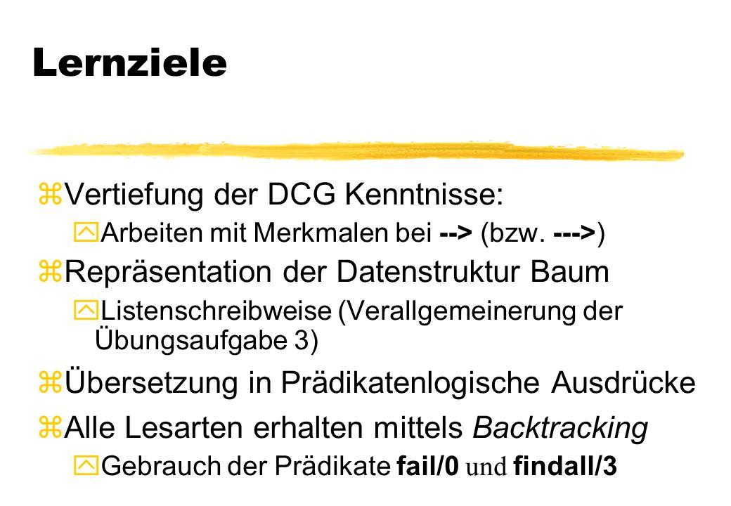 Lernziele zVertiefung der DCG Kenntnisse: Arbeiten mit Merkmalen bei --> (bzw. --->) zRepräsentation der Datenstruktur Baum yListenschreibweise (Veral
