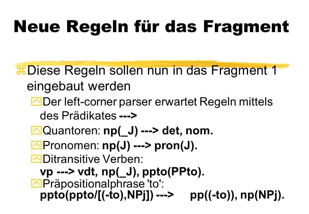 Neue Regeln für das Fragment zDiese Regeln sollen nun in das Fragment 1 eingebaut werden Der left-corner parser erwartet Regeln mittels des Prädikates