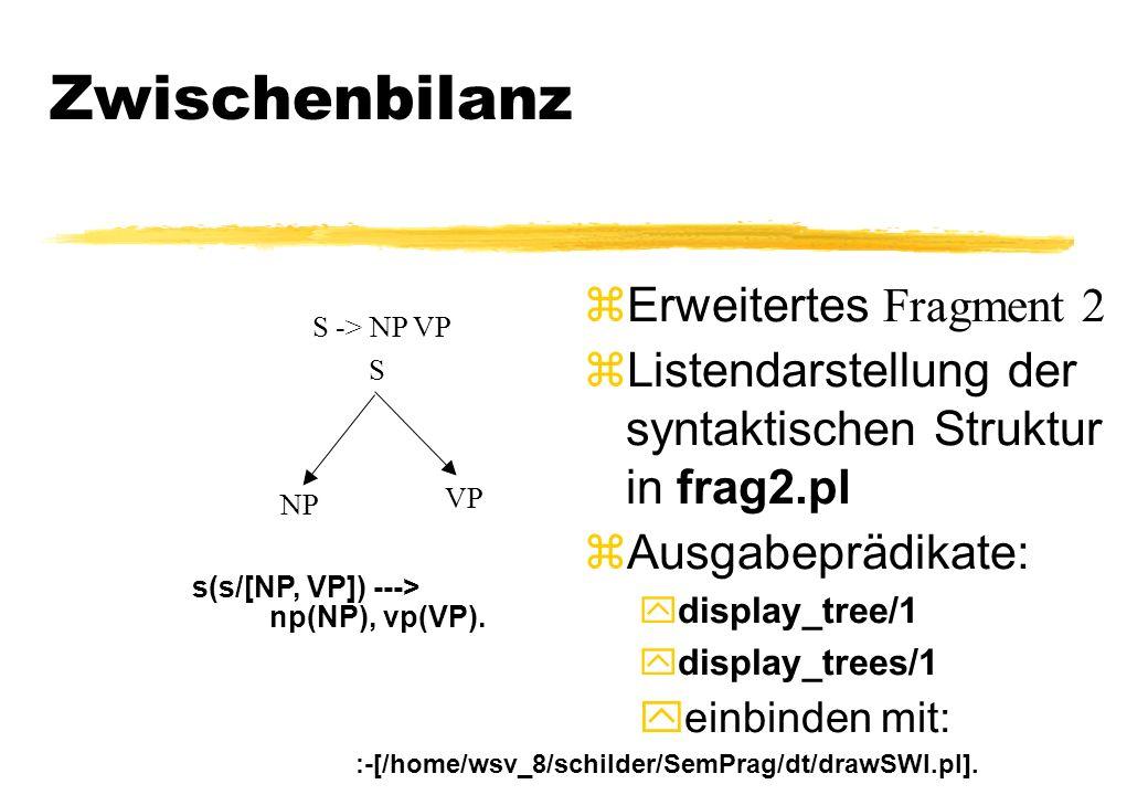 Zwischenbilanz Erweitertes Fragment 2 Listendarstellung der syntaktischen Struktur in frag2.pl zAusgabeprädikate: display_tree/1 display_trees/1 yeinb