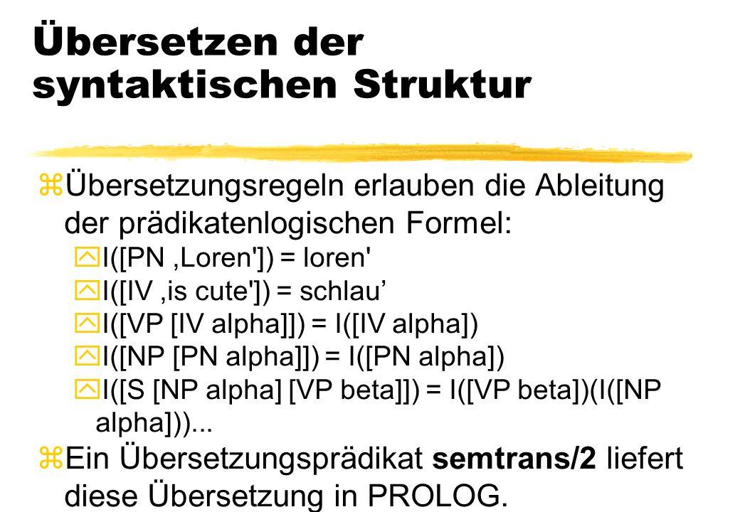 Übersetzen der syntaktischen Struktur zÜbersetzungsregeln erlauben die Ableitung der prädikatenlogischen Formel: yI([PN,Loren']) = loren' yI([IV,is cu