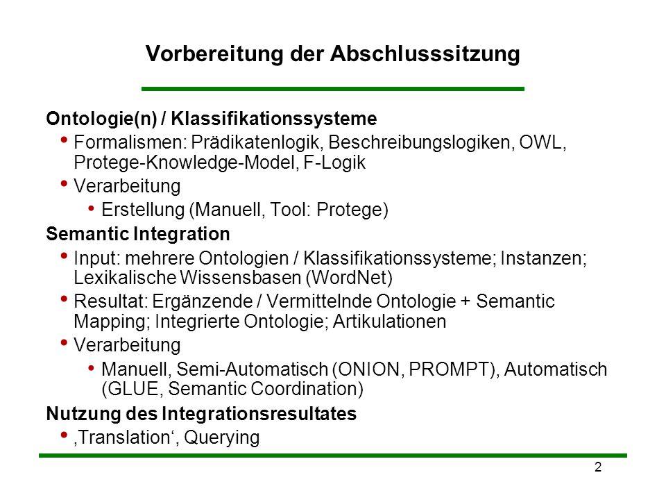 2 Vorbereitung der Abschlusssitzung Ontologie(n) / Klassifikationssysteme Formalismen: Prädikatenlogik, Beschreibungslogiken, OWL, Protege-Knowledge-M
