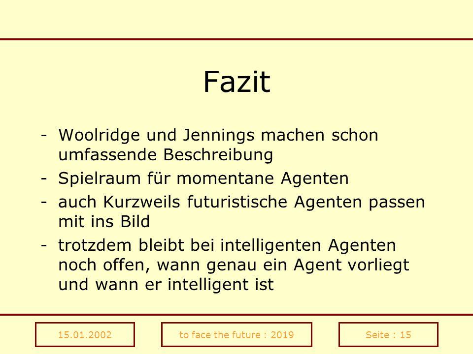 15.01.2002to face the future : 2019Seite : 15 Fazit -Woolridge und Jennings machen schon umfassende Beschreibung -Spielraum für momentane Agenten -auc