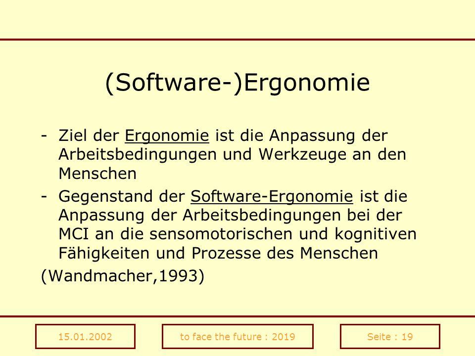 15.01.2002to face the future : 2019Seite : 19 (Software-)Ergonomie -Ziel der Ergonomie ist die Anpassung der Arbeitsbedingungen und Werkzeuge an den M