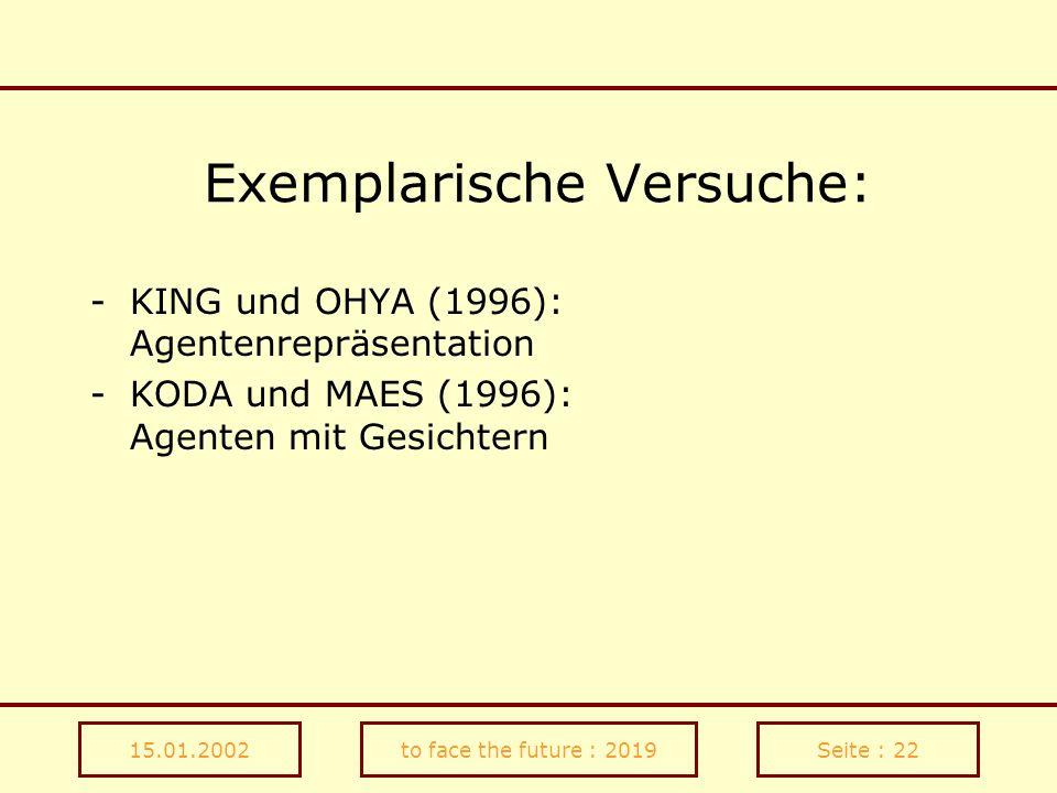 15.01.2002to face the future : 2019Seite : 22 Exemplarische Versuche: -KING und OHYA (1996): Agentenrepräsentation -KODA und MAES (1996): Agenten mit
