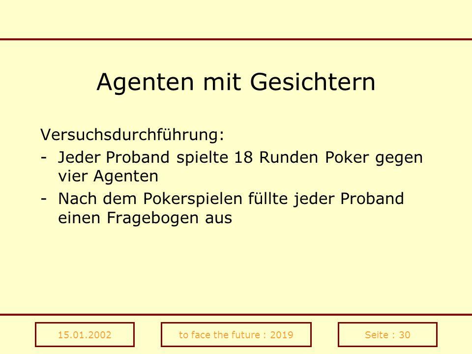 15.01.2002to face the future : 2019Seite : 30 Agenten mit Gesichtern Versuchsdurchführung: -Jeder Proband spielte 18 Runden Poker gegen vier Agenten -