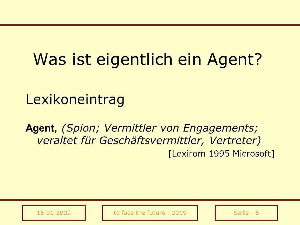 15.01.2002to face the future : 2019Seite : 37 Informations-Schürfer Game-Agent Wählen sie ein Erscheinungsbild für ihren Kontakt- sekretär/In (inkl.