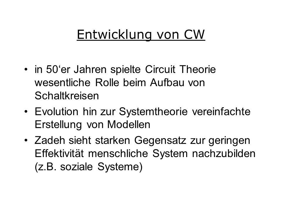 Entwicklung von CW in 50er Jahren spielte Circuit Theorie wesentliche Rolle beim Aufbau von Schaltkreisen Evolution hin zur Systemtheorie vereinfachte Erstellung von Modellen Zadeh sieht starken Gegensatz zur geringen Effektivität menschliche System nachzubilden (z.B.
