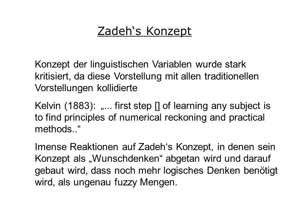 Zadehs Konzept Konzept der linguistischen Variablen wurde stark kritisiert, da diese Vorstellung mit allen traditionellen Vorstellungen kollidierte Kelvin (1883):...