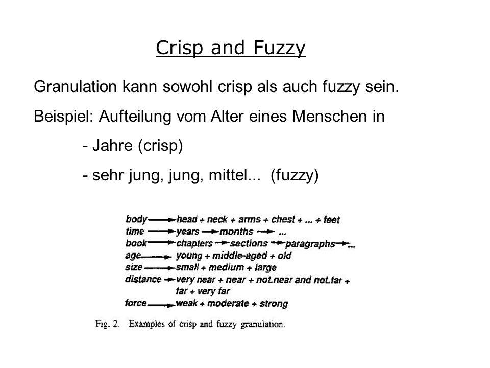 Granulation kann sowohl crisp als auch fuzzy sein.