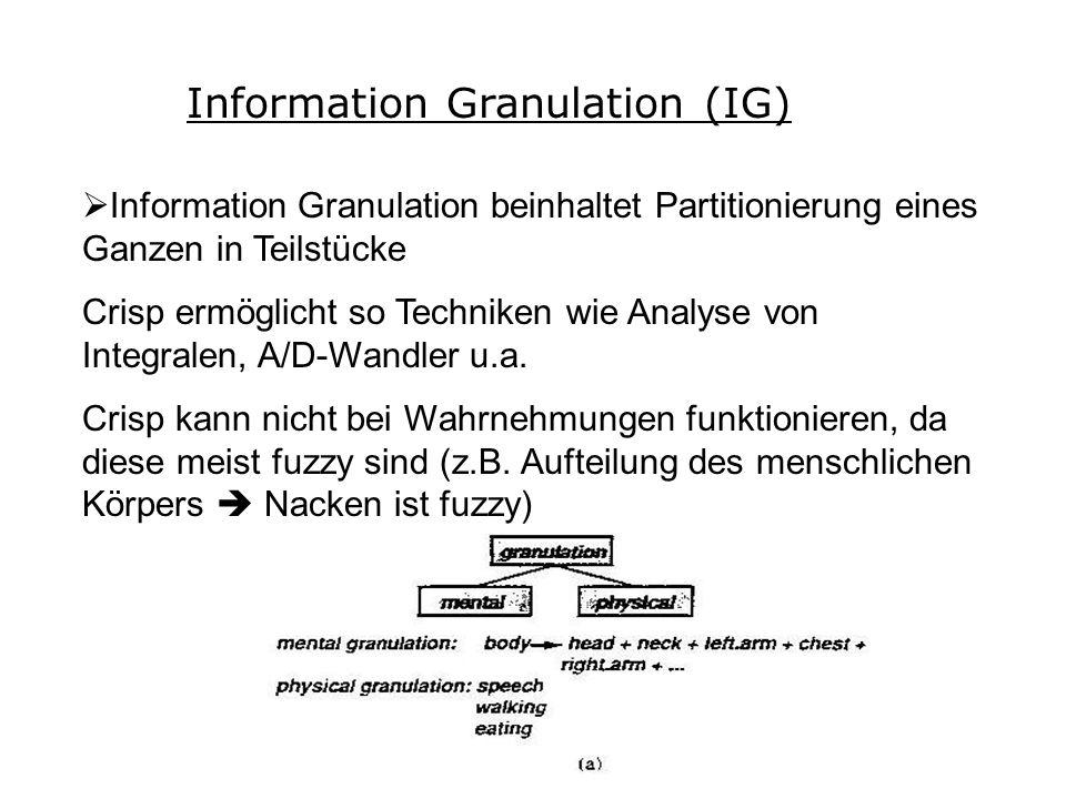 Information Granulation (IG) Information Granulation beinhaltet Partitionierung eines Ganzen in Teilstücke Crisp ermöglicht so Techniken wie Analyse von Integralen, A/D-Wandler u.a.