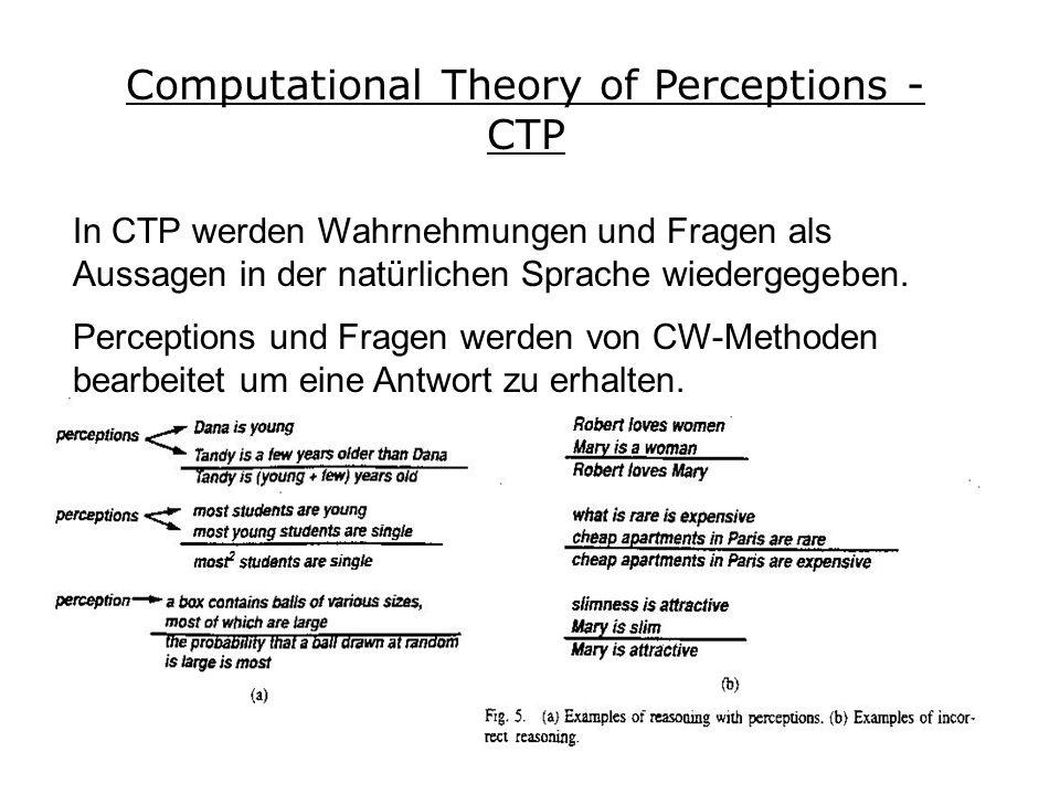 Computational Theory of Perceptions - CTP In CTP werden Wahrnehmungen und Fragen als Aussagen in der natürlichen Sprache wiedergegeben.